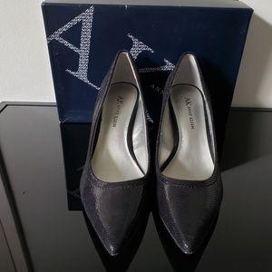 Anne Klein black snakeskin pattern heels